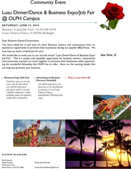 Community Event - Luau Dinner/Dance & Business Expo/Job Fair at OLPH