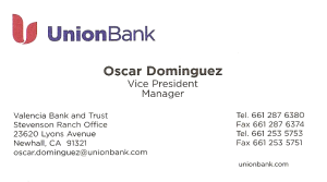 Oscar Dominguez, vice president and manager of Union Bank, has been in the banking industry for 25 years and goes out of his way to understand the financial needs of an individual, couple, or family, as well as the growth-oriented needs of business owners and small businesses.
