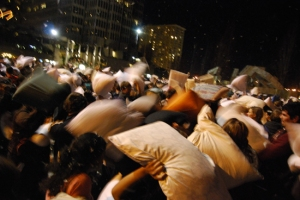 International Pillow Fight Day used social networking sites, text messages, blogs, and personal websites to coordinate one, big pillow fight around the world. Were you part of the flash mob?