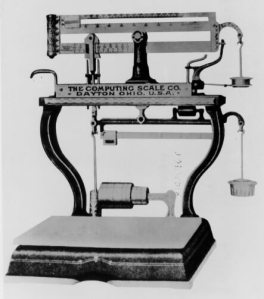 In 1885 Julius Pitrap of Gallipolis, Ohio, patented the first computing scale. Six years later, Edward Canby and Orange Ozias of Dayton, Ohio, purchased Pitrap's patents and incorporated The Computing Scale Company as the world's first computing scale vendor. And four years after that, The Computing Scale Company introduced the first automatic computing scale, shown here. In 1911, the Computing Scale Company merged with the International Time Recording Company and Tabulating Machine Company to form the Computing-Tabulating-Recording Company, a business that was renamed IBM in 1924.